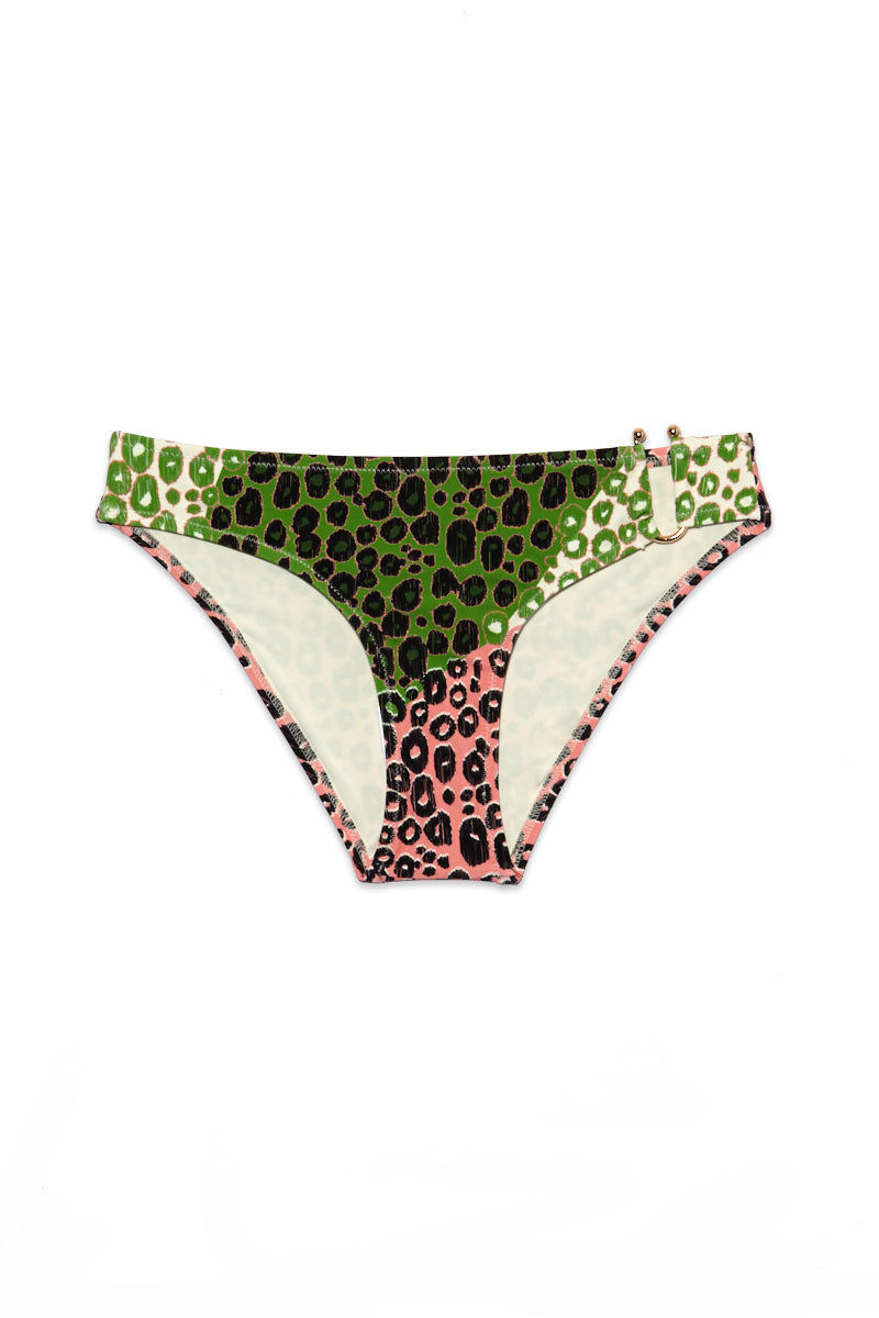 DEREK LAM 10 CROSBY U-Wire Bottom - Carnation Print Bikini Bottom | Carnation Print| DEREK LAM 10 CROSBY U-Wire Bottom - Carnation Print Flatlay View Mid Rise Bottom  Asymmetrical Side Cut Outs  Ball Tipped U Wire Hardware  Moderate coverage  Fully Lined  Animal Print