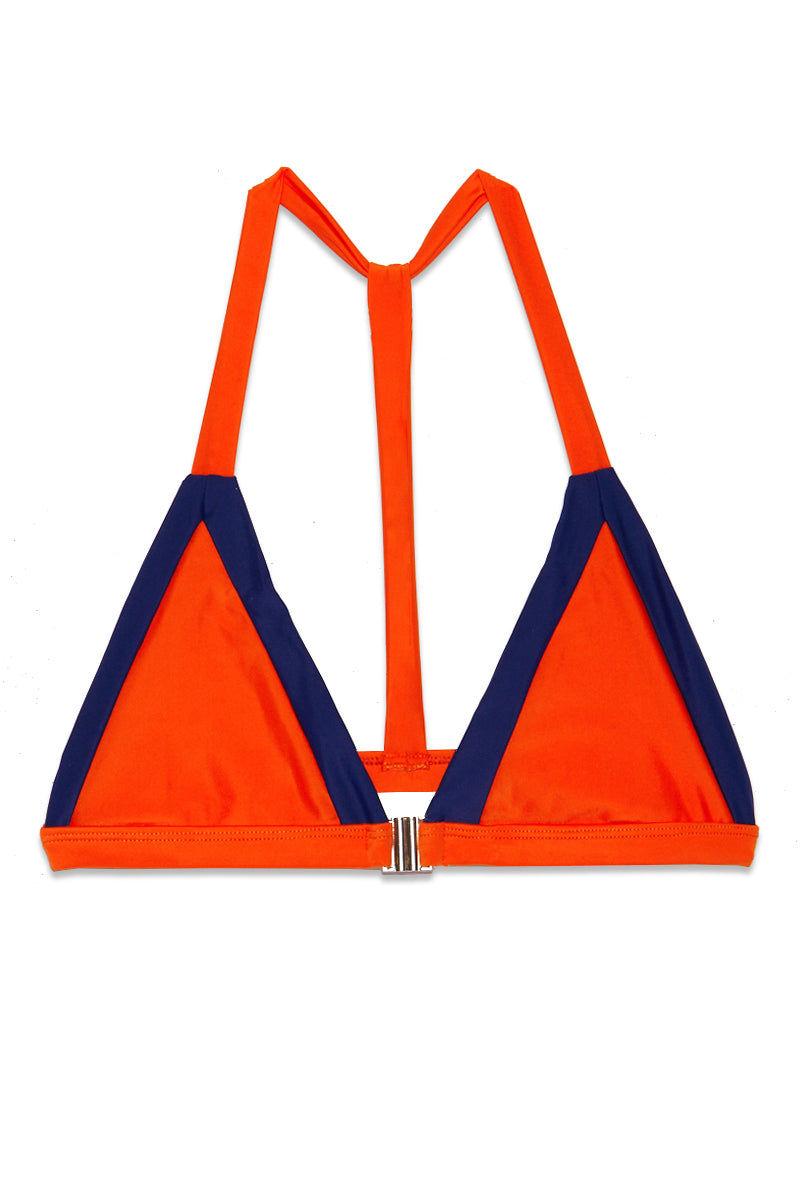 AILA BLUE James Triangle Color Block Bikini Top - Pomelo-Lapis Bikini Top | Pomelo Lapis| Alia Blue James Triangle Color Block Bikini Top. Flat Lay View. Features:  Triangle color block bikini top T back  Front close clasp Pomelo orange and Lapis blue