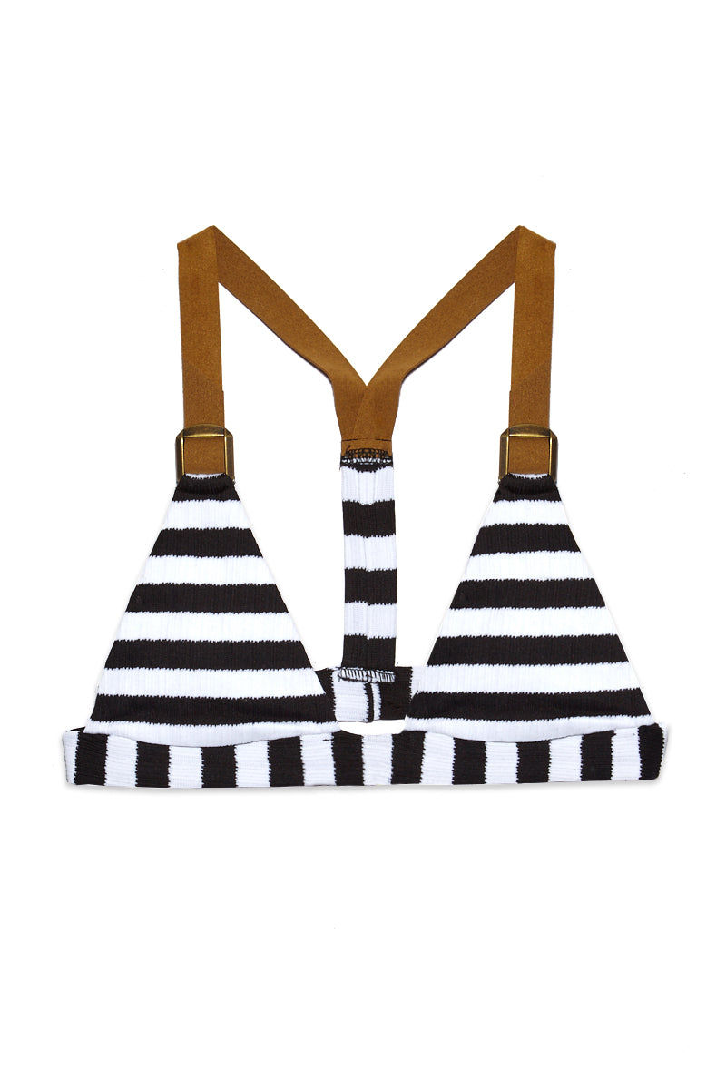 BLUE LIFE Buckled Tri Bikini Top - Stripe Bikini Top | Stripe| Blue Life Buckled Tri Top - Stripe Flatlay View Triangle Top Bold Black and White Stripes Adjustable Shoulder Straps Buckle Detail T-Back