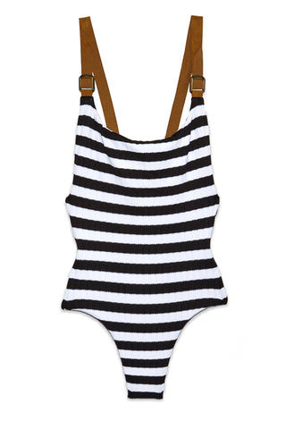 BLUE LIFE Buckled Overall One Piece Swimsuit - Stripe One Piece | Stripe| Blue Life Buckled Overall One Piece - Stripe Flatlay View  Thick Adjustable Shoulder Straps Buckle Detail Bold black and white stripes Minimal coverage Side boob