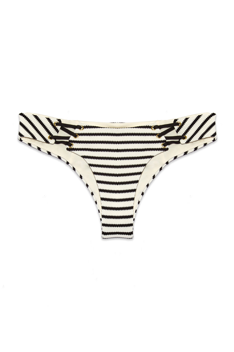 BLUE LIFE Jet Set Skimpy Bikini Bottom - Jacquard Stripe Bikini Bottom | Jacquard Stripe| Blue Life Jet Set Skimpy Bottom - Jacquard Stripe Flatlay View Hipster Bottom Strappy Cutout Detail Cheeky Coverage Made in USA Hand Wash Spandex Blend