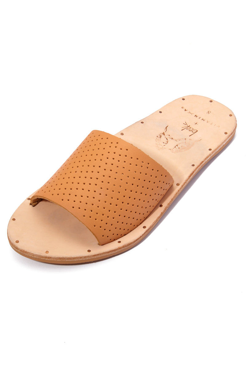 BEEK Mockingbird Sandals - Carmel Sandals | Carmel|Mockingbird Sandals - Features:  Soft, supple vegetable-tanned leather uppers Vegetable-tanned leather footbed with 'beek + vitamin A heel stamp Rubber outsole (bottom) Fully leather-lined top strap for durability and comfort Super comfortable molded arch Beek's signature two metal studs at inside of sole Tiny nail heads around insole