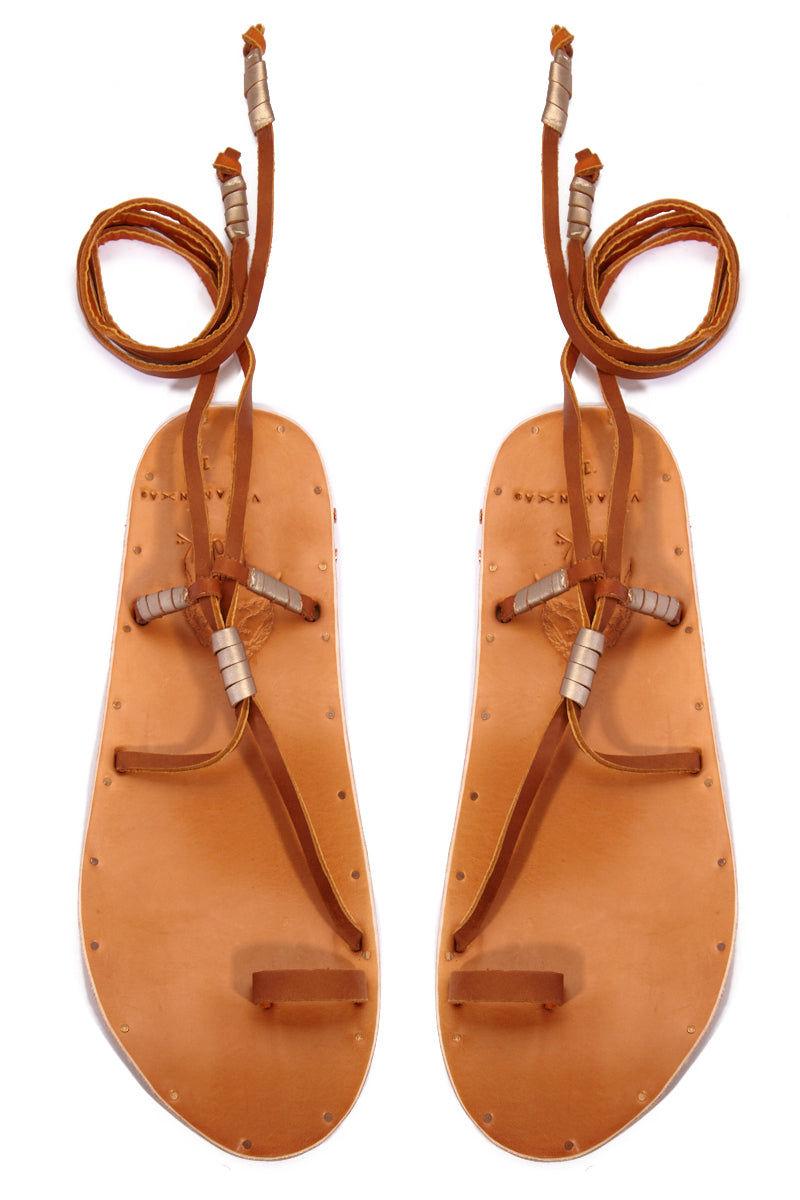 BEEK Bluebird Sandals - Carmel Sandals | Carmel|Bluebird Sandals - Arch support  Toe strap Wrap up detail strap Lace up tan detail