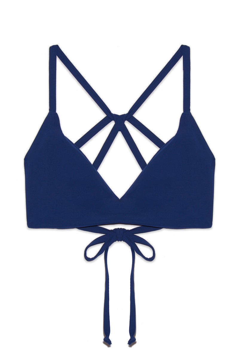 BOYS + ARROWS Dylan Bikini Top - Navy Bikini Top | Navy| Boys + Arrows Dylan Bikini Top - Navy Flatlay View V Neckline  Sporty Fit  Strappy Back  Adjustable Back Tie  Seamless Hand wash Created in California