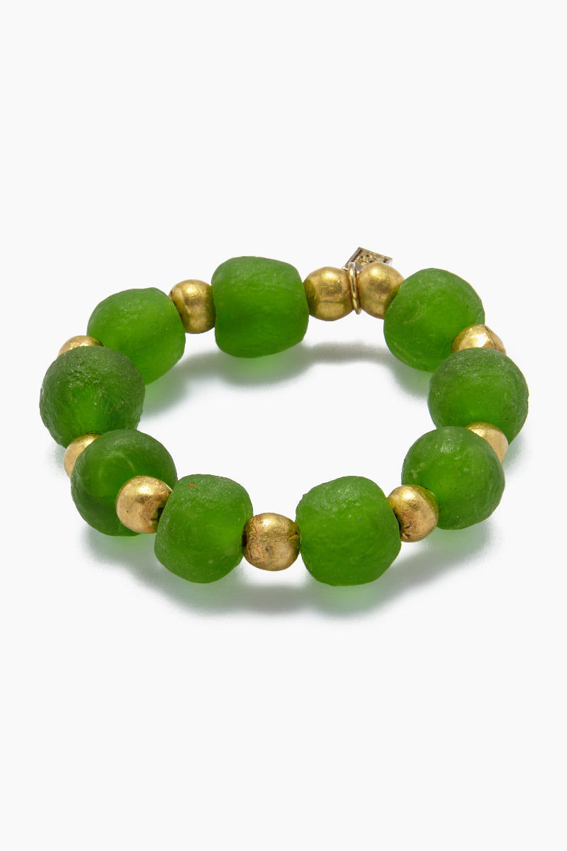 INK + ALLOY Ghana Glass And Brass Bead Stretch Bracelet - Emerald Jewelry | Ghana Glass And Brass Bead Stretch Bracelet - Emerald
