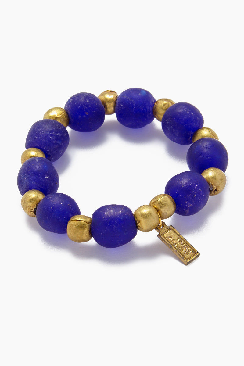 INK + ALLOY Ghana Glass And Brass Bead Stretch Bracelet - Cobalt Jewelry | Ghana Glass And Brass Bead Stretch Bracelet - Cobalt