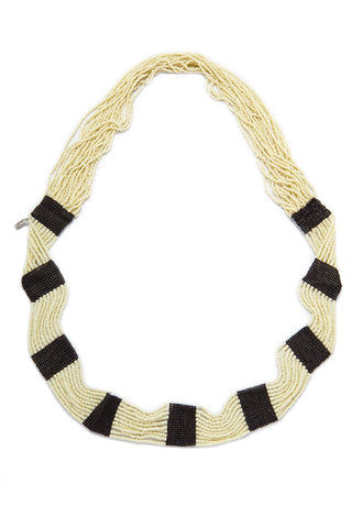 "INK + ALLOY Seed Bead Necklaces - Black & White Jewelry | Seed Bead Necklaces - Black & White Features:  Long black and white seed bead necklace Length measuring 42"" Black and white stripes Ethnic, tribal style"