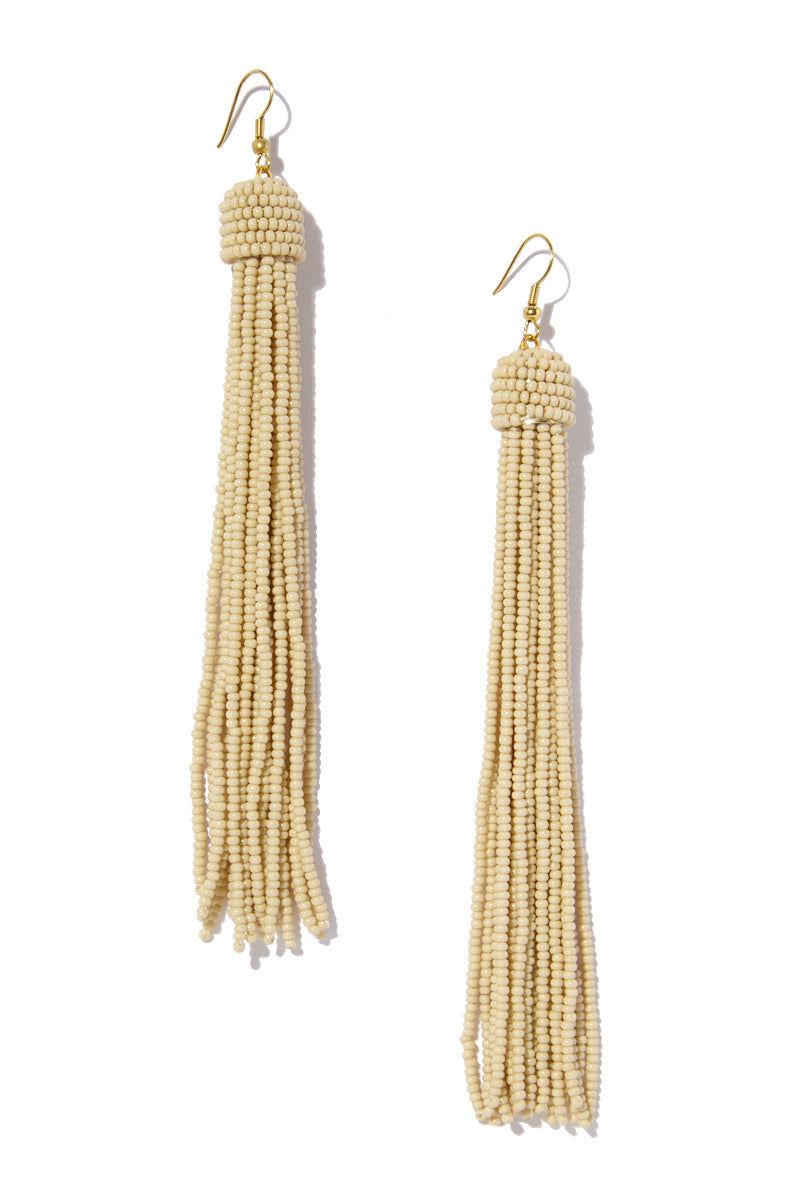 INK + ALLOY Tassel Earrings - Ivory Jewelry | Tassel Earrings - Ivory Features:  Ivory Seed bead earrings Drop tassel style Gold color metal  Fish hook back
