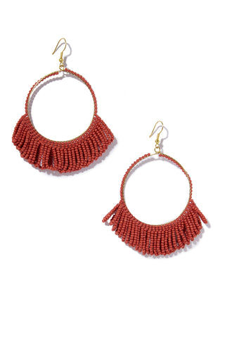INK + ALLOY Seed Bead Hoop Earrings With Fringe  - Terra Cotta Jewelry | Seed Bead Hoop Earrings With Fringe  - Terra Cotta Features:  Drop hoop earrings Seed beads with Fringe at bottom Fish hook back type Deep red color in Terra Cotta