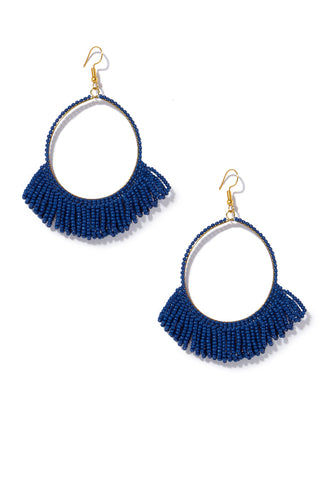 INK + ALLOY Seed Bead Hoop Earrings With Fringe  - Lapis Jewelry | Seed Bead Hoop Earrings With Fringe  - Lapis Features:  Drop hoop earrings Seed beads with Fringe at bottom Fish hook back type Deep blue color in Lapis