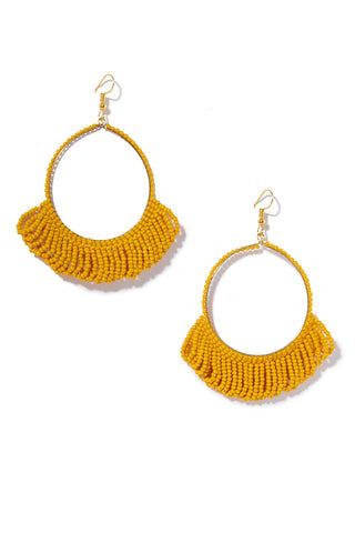 INK + ALLOY Seed Bead Hoop Earrings With Fringe  - Mustard Jewelry | Seed Bead Hoop Earrings With Fringe  - Mustard Features:  Drop hoop earrings Seed beads with Fringe at bottom Fish hook back type Bright yellow color in Mustard