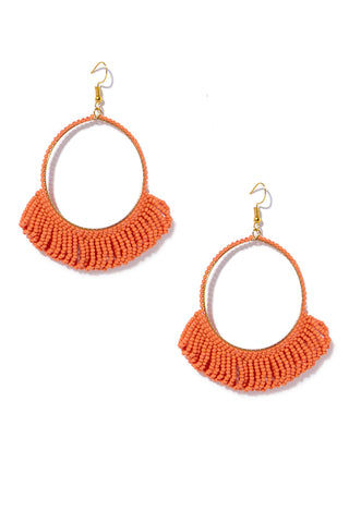 INK + ALLOY Seed Bead Hoop Earrings With Fringe - Coral Jewelry | Seed Bead Hoop Earrings With Fringe - Coral
