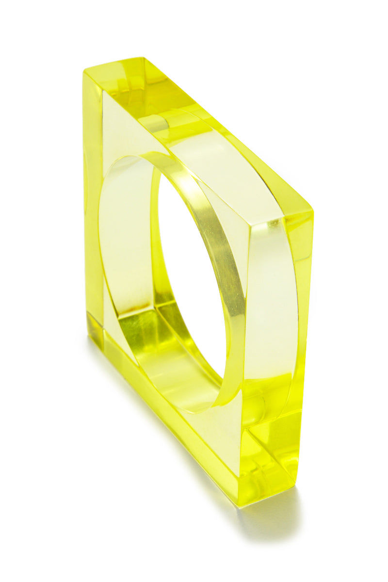 INK + ALLOY Lucite Square Bangle - Chartreuse Jewelry | Lucite Square Bangle - Chartreuse Features:  Acrylic Square Bangles Transparent yellow color in Chartruse