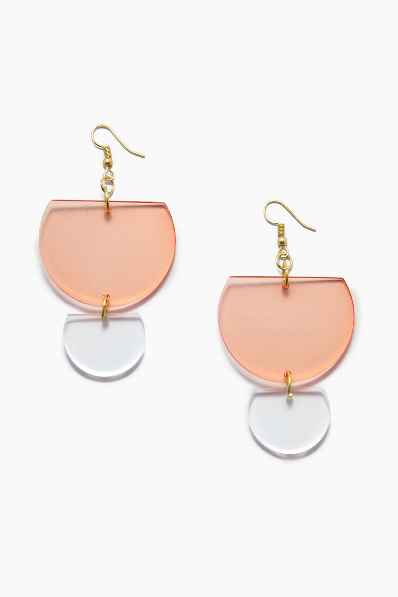 INK + ALLOY Lucite Double Half-Round Earrings - Watermelon Jewelry | Lucite Double Half-Round Earrings - Watermelon Features:  Acrylic double half round earrings Gold color fish hook back Transparent coral color in Watermelon
