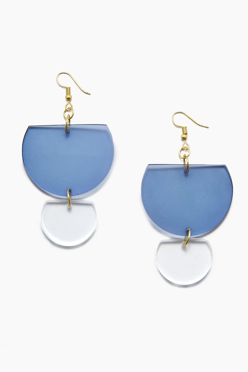 INK + ALLOY Lucite Double Half-Round Earrings - Lapis Jewelry | Lucite Double Half-Round Earrings - Lapis Features:  Acrylic double half round earrings Gold color fish hook back Transparent blue color in Lapis