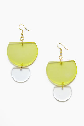 INK + ALLOY Lucite Double Half-Round Earrings - Chartreuse Jewelry | Lucite Double Half-Round Earrings - chartreuse Features:  Acrylic double half round earrings Gold color fish hook back Transparent yellow color in Chartreuse