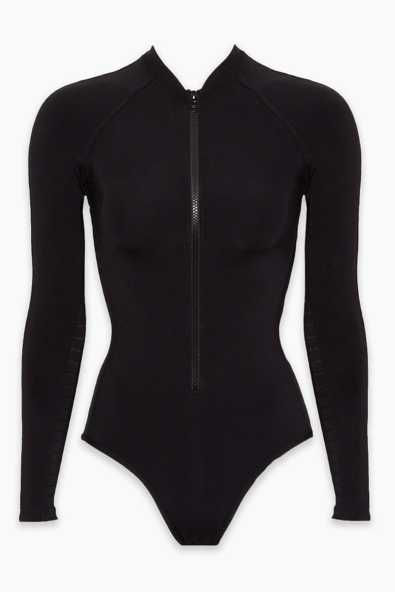 JETS Surf Suit - Black One Piece | Black|Surf Suit -  Features:  Plunge neckline Moulded cups Sheer stripe panelled insert Halter neck tie with beaded tie ends Open keyhole clip back Best suited for an A-C cup size