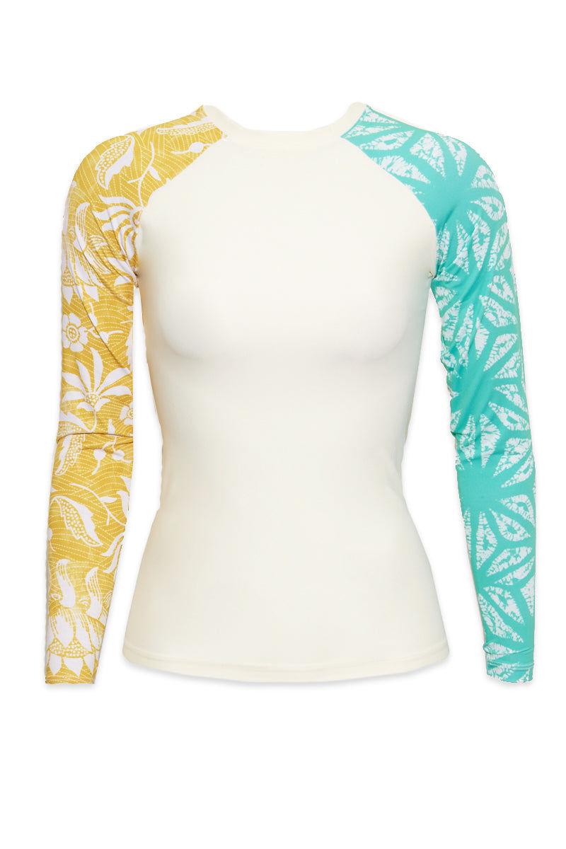 SEEA Doheny Slim-Fit Long Sleeve Color Blocked Rashguard - Fiori Print Bikini Top | Fiori| Seea Doheny Rashguard Detail View