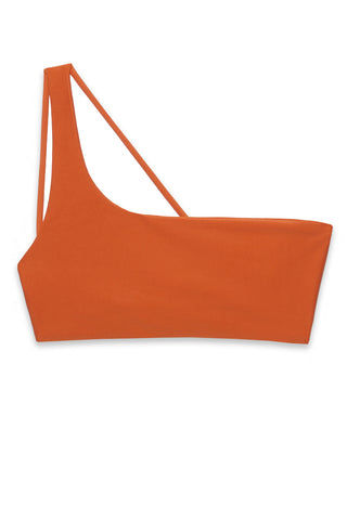 JADE SWIM Apex One Shoulder Bikini Top - Amber Bikini Top | Amber|Jade Swim Apex One Shoulder Bikini Top - Amber. Flat Lay View - STYLE:  Asymmetrical one shoulder bikini top in a burnt orange shade Amber Modern one-shoulder wide strap cascades into thin double back straps to show off your shoulders. Wide shoulder strap provides support for your bust and offers the perfect amount of lift.
