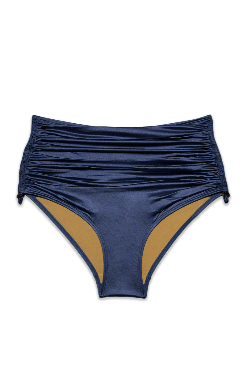 MARLIES DEKKERS Holi Glamour High Waist Bikini Bottoms - Navy Bikini Bottom | Navy|Marlies Dekkers Holi Glamour High Waist Bikini Bottoms (Curves) - Navy. Flat Lay View. Features: Metallic navy high waist bikini bottom Drawstring detail on sides High waisted brief style Full coverage Scrunch front and side detail Lined