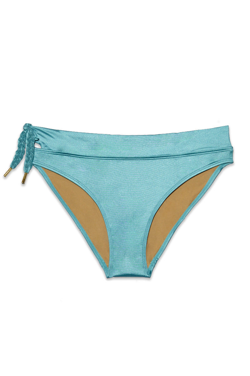 MARLIES DEKKERS Holi Glamour 5Cm Bikini Bottom (Curves) - Aqua Blue Bikini Bottom   Aqua Blue  Marlies Dekkers Holi Glamour 5Cm Bikini Bottom (Curves) - Aqua Blue.  Flatlay View Metallic blue bikini bottom Braided side string detail Thick side band measuring 5cm Full coverage  Mid rise Turquoise color in Aqua blue