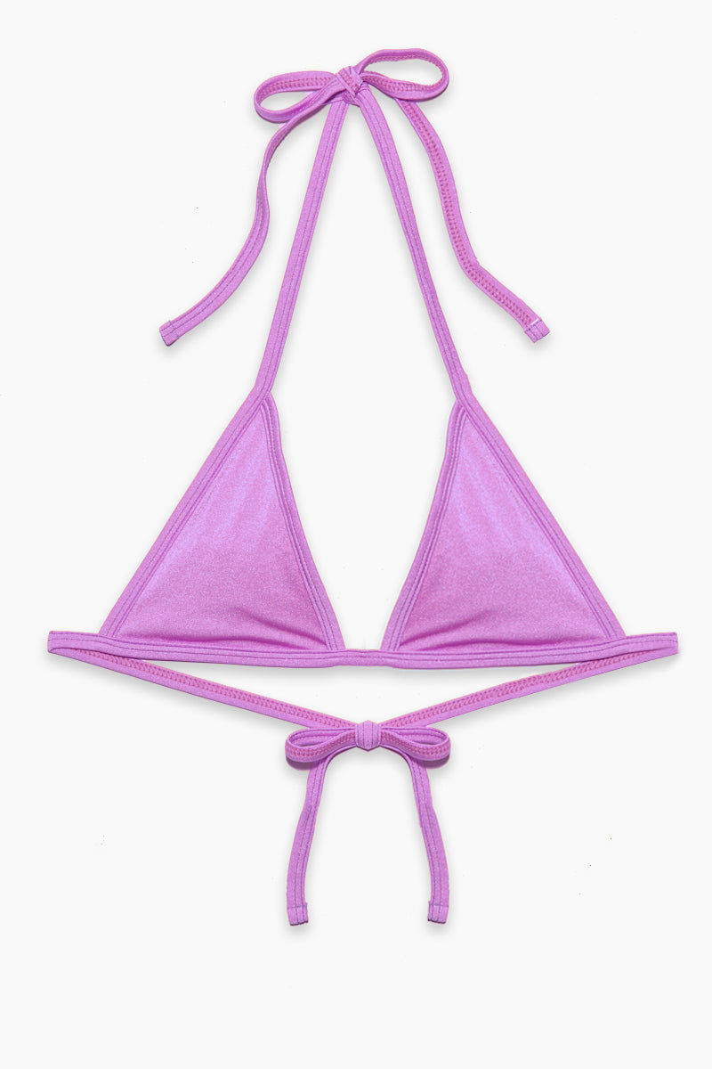 EMMA FORD Bella Triangle Bikini Top - Lavender Bikini Top | Lavender|Bella Triangle Bikini Top - STYLE:  Fixed triangle bikini top in lavender purple Fabric features a hint of sheen, which reflects brilliantly in the sun for an allover glow. Adjustable halter straps offer extra bust support and tie behind the perfect amount of lift. Adjustable ties at the back can be tied as loose or tight as needed for a customizable fit.
