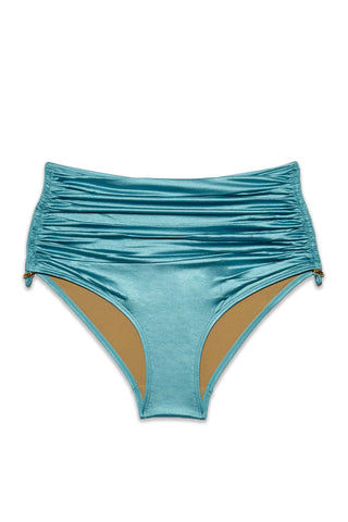 MARLIES DEKKERS Holi Glamour High Waist Bikini Bottom (Curves) - Aqua Blue Bikini Bottom | Aqua Blue|Marlies Dekkers Holi Glamour High Waist Bikini Bottom (Curves) - Aqua Blue. Flat Lay View. - Features:  Metallic blue high waist bikini bottom Drawstring detail on sides High waisted  brief style Full coverage Scrunch front and side detail Lined