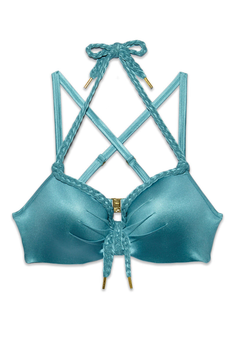 MARLIES DEKKERS Holi Glamour Wired Padded Big Bust Bikini Top (Curves)  - Aqua Blue Bikini Bottom | Aqua Blue| Marlies Dekkers Holi Glamour Wired Padded Plunge Balcony Bikini Top (Curves)  - Aqua Blue. Flat Lay View. Supportive underwired metallic navy bikini top. String tie halter neck detail. Adjustable strap. Braided strings. Clasp back.