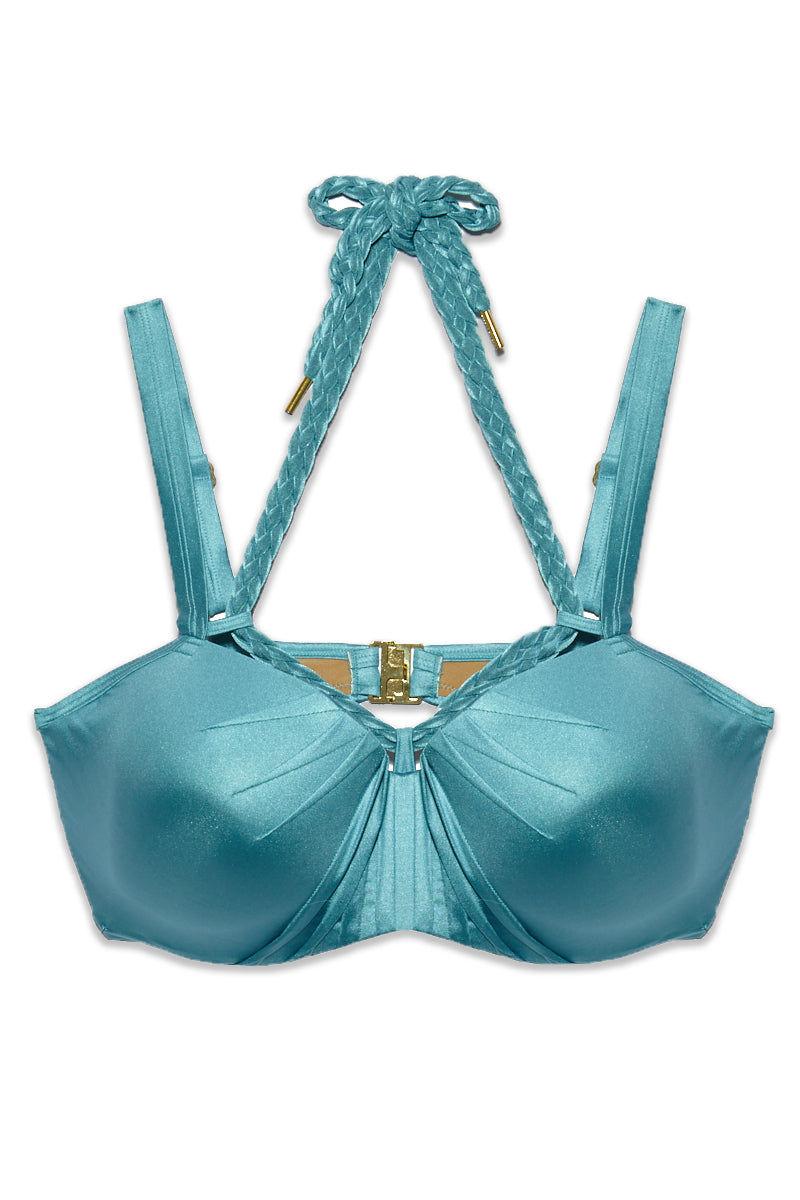 MARLIES DEKKERS Holi Glamour Wired Padded Push Up Bikini Top (Curves) - Aqua Blue Bikini Top | Aqua Blue| Holi Glamour Wired Padded Push Up Bikini Top (Curves) - Aqua Blue. Flat Lay View.