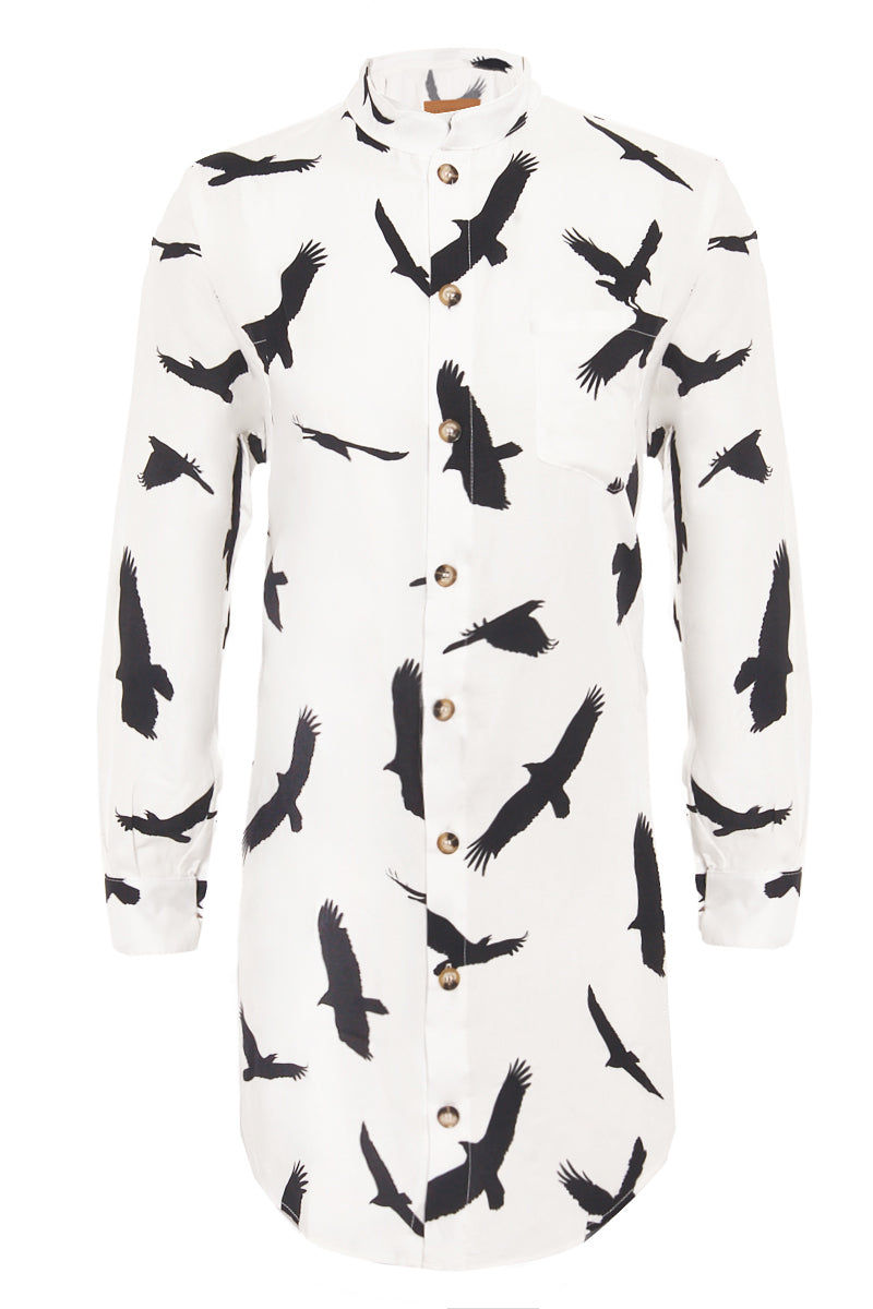 BOYS + ARROWS It's Not You It's Me Dress - Blackbird Fly Dress | Blackbird Fly| Boys + Arrows It's Not You It's Me Dress - Blackbird Fly Flatlay View Shirt Dress Mandarin Collar Long Sleeves Button Up Front  100% Viscose Designed in California