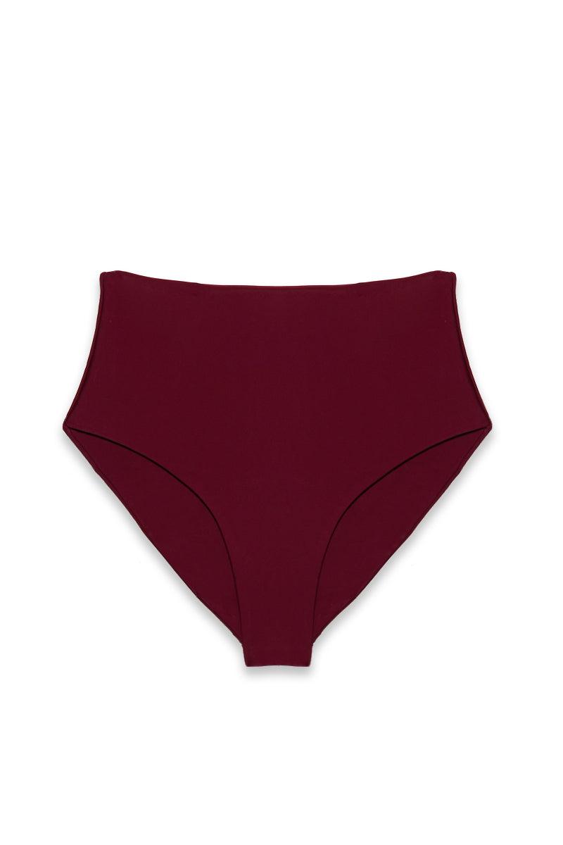 JADE SWIM Bound High Waisted Bikini Bottom - Fig Bikini Bottom   Fig  Jade Swim Bound High Waisted Bikini Bottom - Fig High Waisted High Cut Leg Moderate Coverage Flatlay View