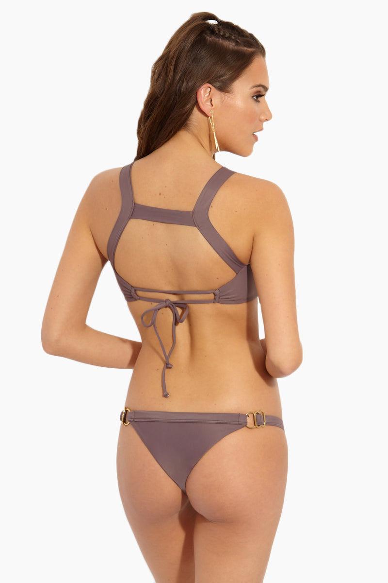 ISSA DE' MAR Waimea Front Strap Bralette Bikini Top - Mauve Bikini Top   Mauve  Issa De' Mar Waimea Top - Mauve Back View Front Strap Detail Scoop Neckline Adjustable Tie Back  Removable Pads