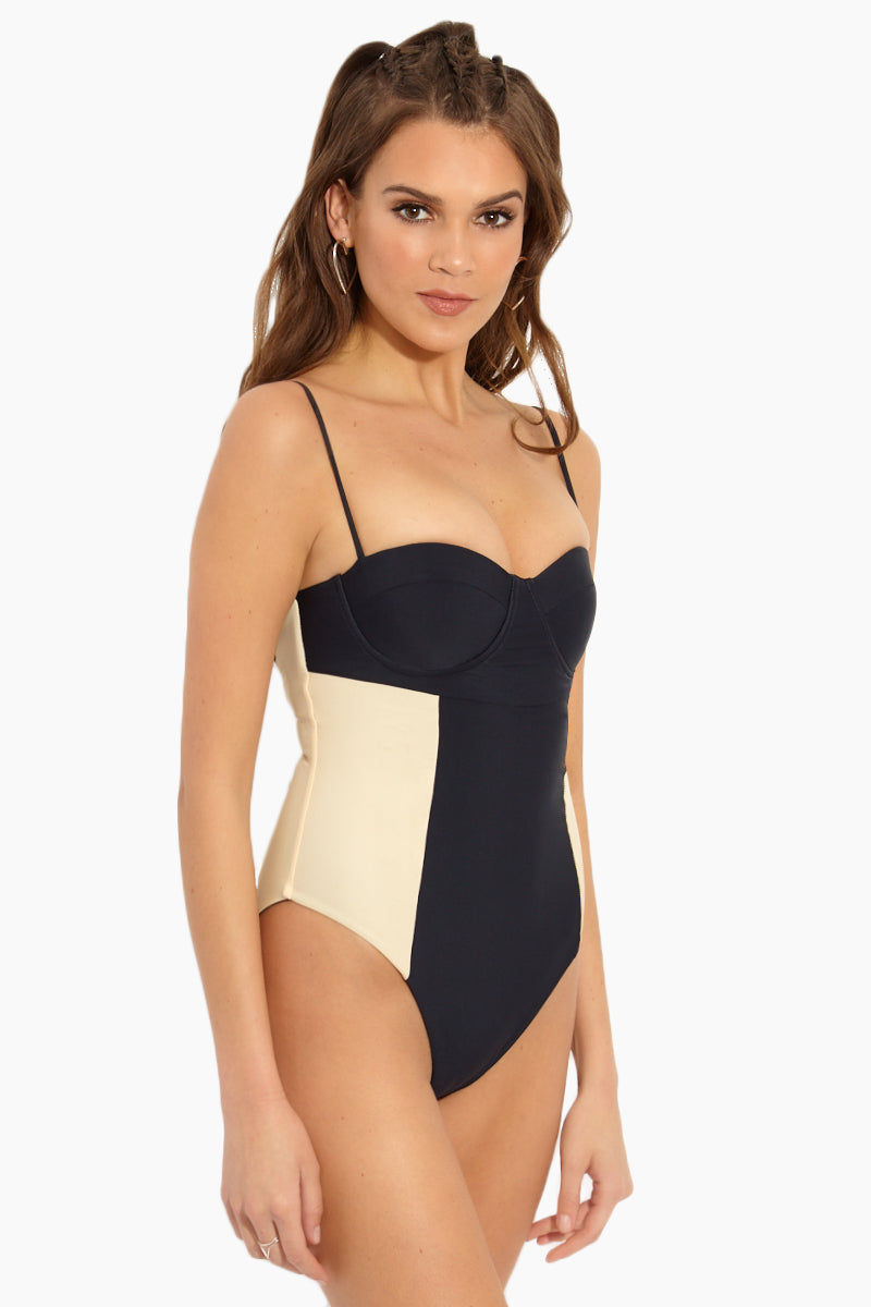 ISSA DE' MAR Lanikai Color Block Underwire Lace Up Back One Piece Swimsuit - Night Black/Tan One Piece | Night Black/Tan| Issa De' Mar Lanikai Color Block Underwire Lace Up Back One Piece Swimsuit - Night Black/Tan hile creating a sweetheart neckline that accentuates your décolletage giving the perfect peek of cleavage.  Lace up back creates a sexy detail to an otherwise classic silhouette. 90's inspired French cut high sides elongates the look of your legs. Color blocking Side View