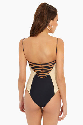ISSA DE' MAR Lanikai Underwire Color Blocked One Piece Swimsuit - Night/Tan One Piece | Night/Tan| Issa De Mar Lanikai One Piece
