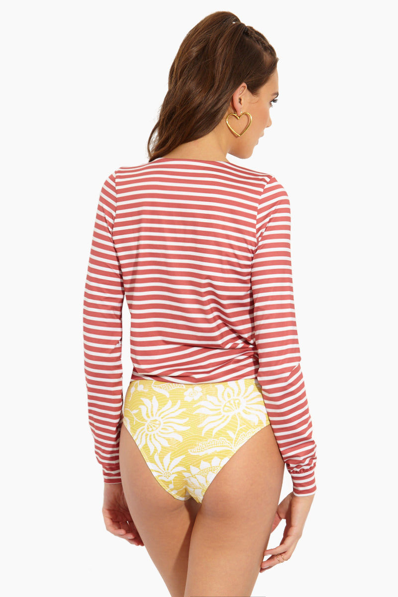 SEEA Santander Long Sleeve Color Blocked One Piece Swimsuit - Fresa Print One Piece | Fresa| Seea Santander One Piece Back View