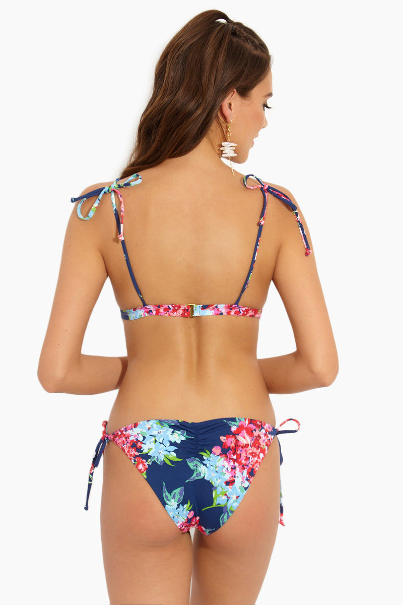 BEACH JOY Adjustable String Tie Triangle Bikini Top - Floral Dreams Print Bikini Top | Floral Dreams Print| Adjustable String Tie Triangle Bikini Top - Floral Dreams Print. Flat Lay View .Floral triangle bikini top Adjustable string tie straps Clasp closure at back Floral print on navy color fabric