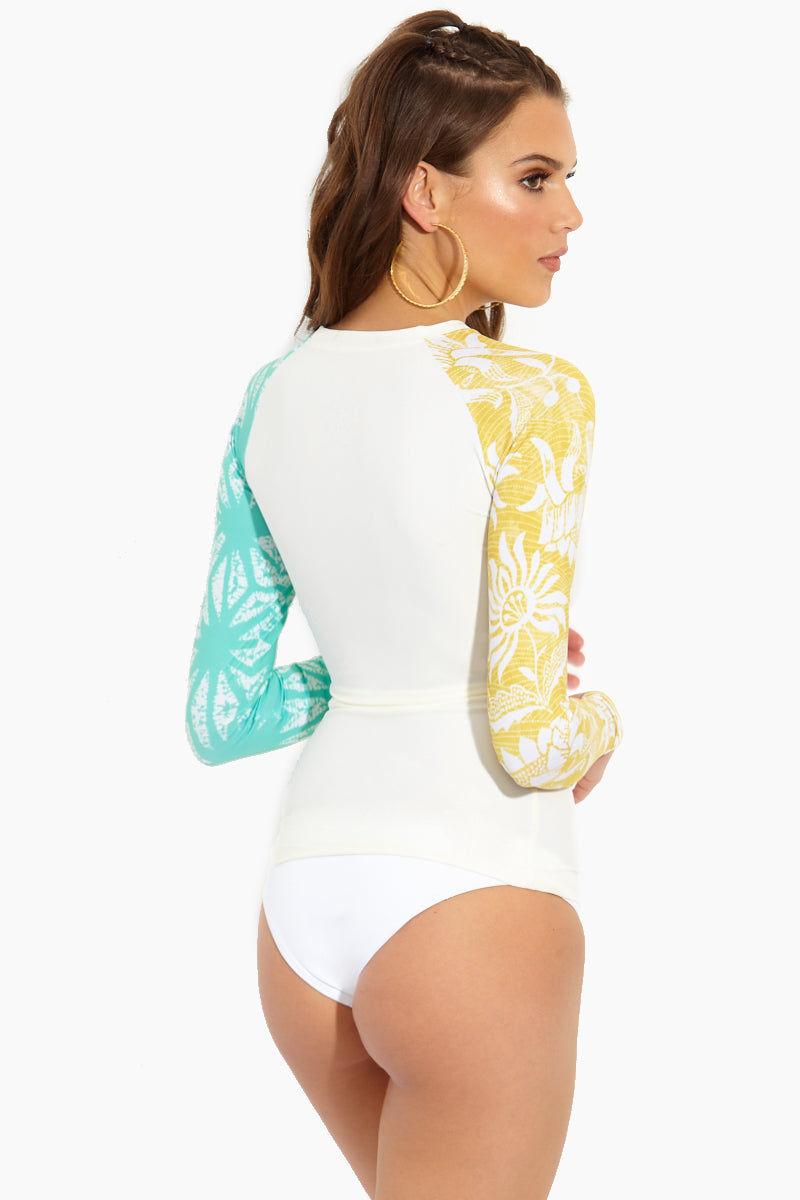 SEEA Doheny Slim-Fit Long Sleeve Color Blocked Rashguard - Fiori Print Bikini Top | Fiori| Seea Doheny Rashguard Back View