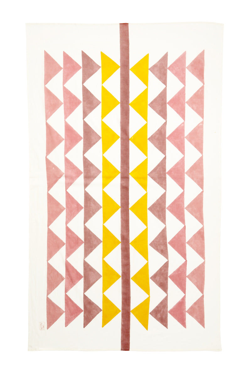 INK + ALLOY Block It Scarf - Jaipur Pink & Yellow Accessories | Block It Scarf - Jaipur Pink & Yellow Flat Lay View