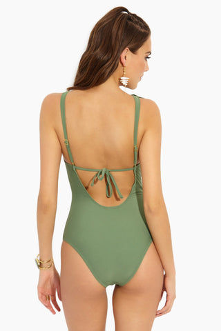 BEACH JOY Ruffled Lace Up One Piece - Matcha Latte One Piece | Matcha Latte| Ruffled Lace Up One Piece - Matcha Latte. Flat Lace View. Cheeky. Deep Plunging neck line. Flounce ruffles on at middle. Lace up string tie bows. Thick String tie bows. Scoop back. High cut style. Minimal Coverage