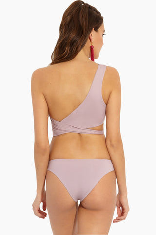TAVIK Eve Bikini Top - Deauville Mauve Bikini Top | Deauville Mauve|Eve Bikini Top Back View - Features: Asymmetrical One shoulder style Fully lined Adjustable Wrap tie Wide shoulder strap