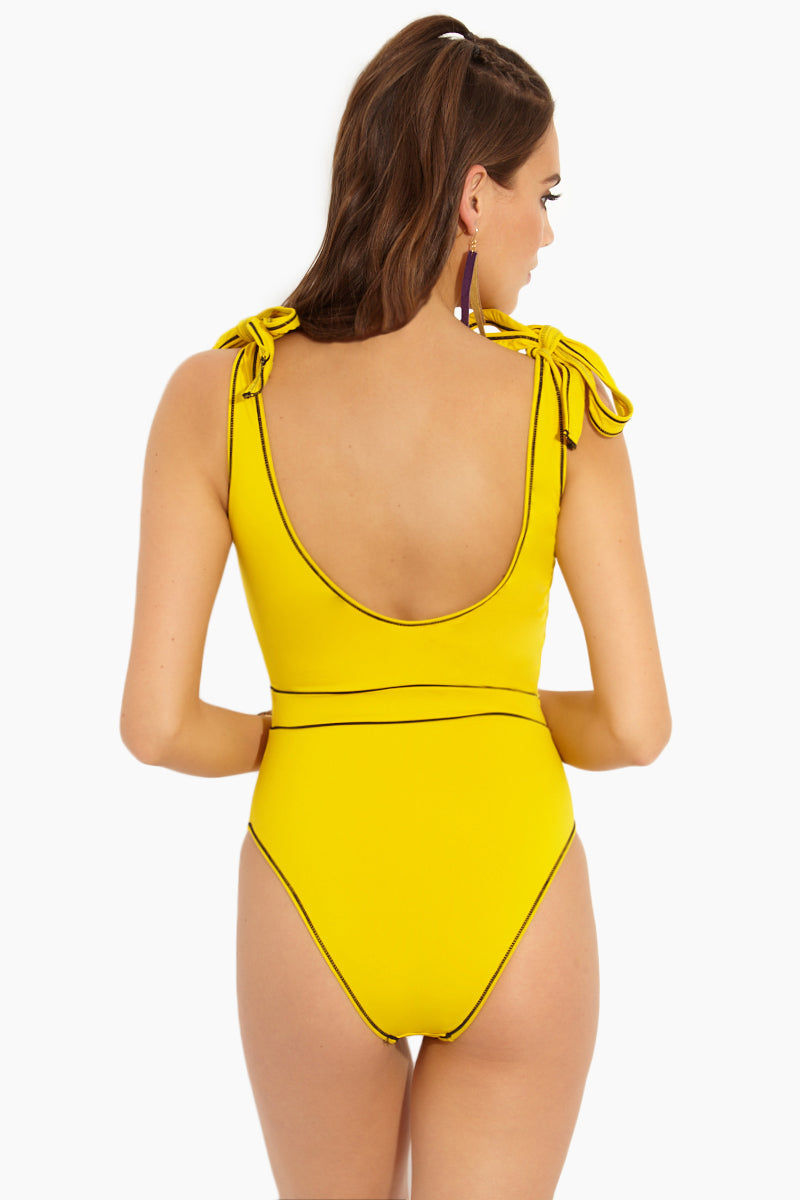 BEACH JOY Tie Shoulder One Piece - Dandelion One Piece | Dandelion|Tie Shoulder One Piece - Features:  Mustard plunging one piece Adjustable string tie shoulder style Belt-like white lines at middle Cheeky style butt Minimal coverage
