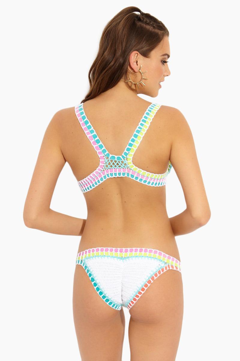 BEACH JOY Crochet Top - White Color Block Bikini Top | White Color Block |Beach Joy Crochet Top - White Color Block Flat Lay View