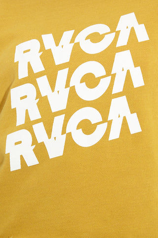 RVCA Slice RVCA Sweatshirt - Harvest Gold Top | Harvest Gold| RVCA Slice RVCA Sweatshirt - Harvest Gold Detail View French Terry Washed Pullover Crew Neck Sweatshirt Mustard Yellow RVCA Graphic Logos at Front Acid Wash Dropped Shoulders Raw-Edge Hemline