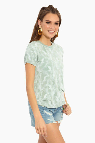 RVCA Supension T-Shirt - Granite Resort Top | Granite| RVCA Suspension T-Shirt - Granite Side View Seafoam Green Slouch-Fit Crew Neck Short Sleeve T-Shirt Palm Print Garment Overdye Ultra-Soft Jersey Fabric