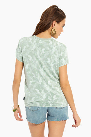 RVCA Supension T-Shirt - Granite Resort Top | Granite| RVCA Suspension T-Shirt - Granite Back View Seafoam Green Slouch-Fit Crew Neck Short Sleeve T-Shirt Palm Print Garment Overdye Ultra-Soft Jersey Fabric