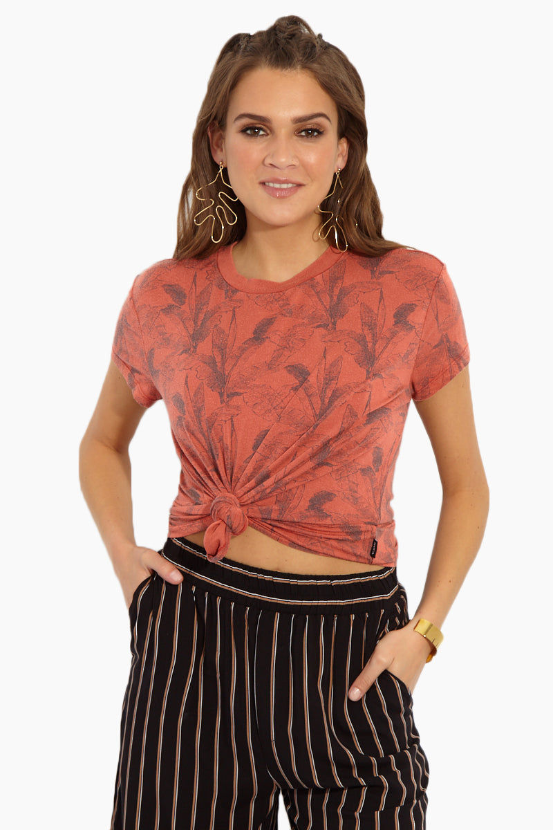 RVCA Supension T-Shirt - Red Clay Resort Top | Red Clay| RVCA Suspension T-Shirt - Red Clay Front View Burnt Orange Slouch-Fit Crew Neck Short Sleeve T-Shirt Palm Print Garment Overdye Ultra-Soft Jersey Fabric