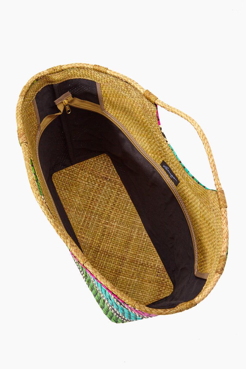 BANAGO Liliana Large Tote - Labra Fiesta Bag | Liliana Large Tote - Labra Fiesta. Top View. Features:   Large Straw Tote Double Handles Multicolor Stripes Design  Zipper Closure  Made in the Philippines