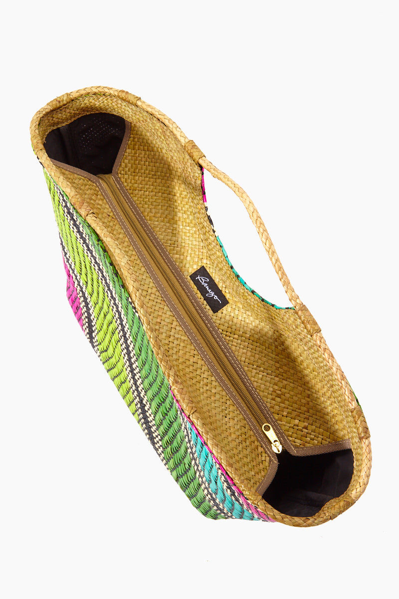 BANAGO Liliana Large Tote - Labra Fiesta Bag | Liliana Large Tote - Labra Fiesta Top View closed. Features:   Large Straw Tote Double Handles Multicolor Stripes Design  Zipper Closure  Made in the Philippines