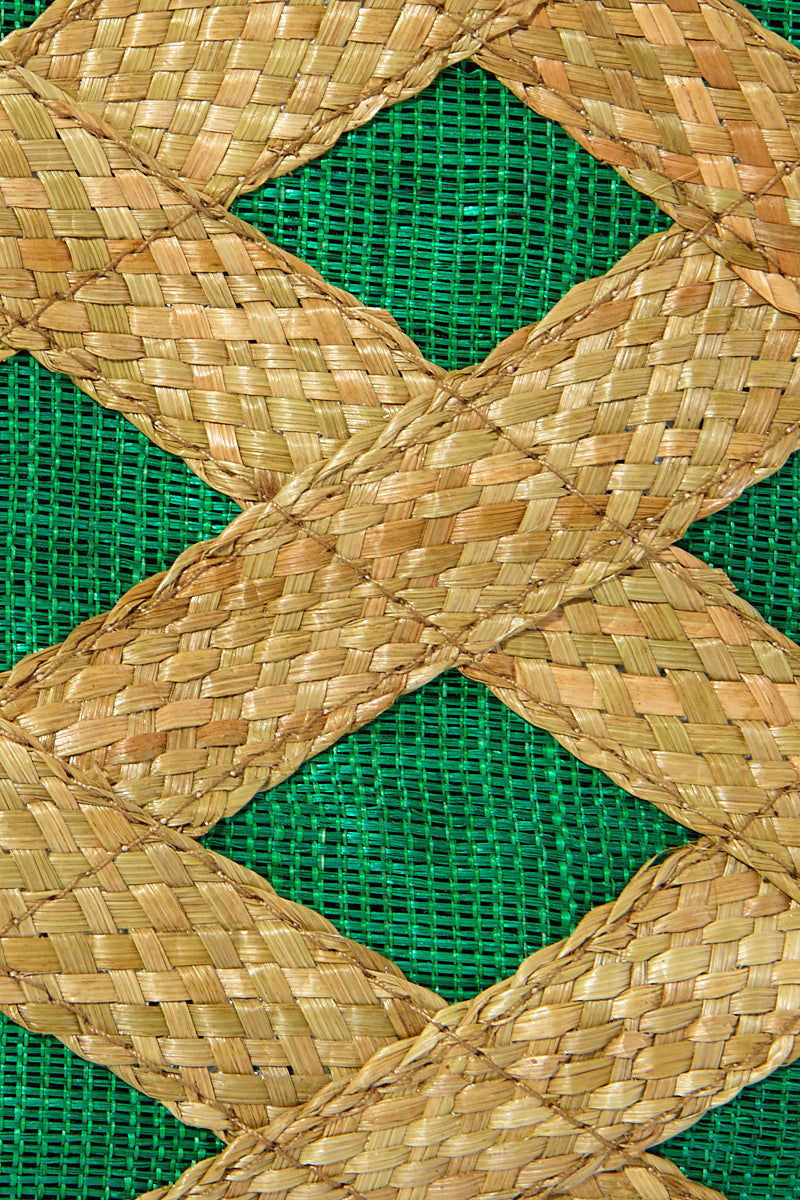 BANAGO Liliana Mini Tote - Talunay Diagonal Weave Green Bag | | Banago Liliana Mini Tote - Talunay Diagonal Weave GreenMini Straw Tote Double Handles Embroidered Pattern  Made in the Philippines Hand Woven:  80% wild grass, 20% abaca fabric outer, 100% polyester lining