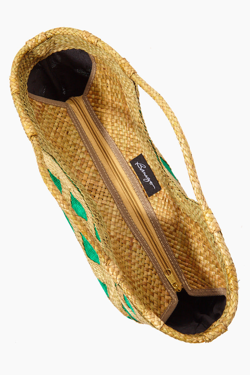 BANAGO Liliana Mini Tote - Talunay Diagonal Weave Green Bag | | Banago Liliana Mini Tote - Talunay Diagonal Weave Green Mini Straw Tote Double Handles Embroidered Pattern  Made in the Philippines Hand Woven:  80% wild grass, 20% abaca fabric outer, 100% polyester lining